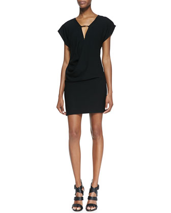 Draped Jersey Keyhole-Front Dress