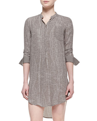 3/4-Sleeve Georgette Shirtdress, Ash Beaded Web