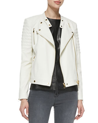 Crista Ribbed-Shoulder Leather Jacket