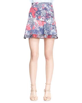 Printed Asymmetric Flare Skirt