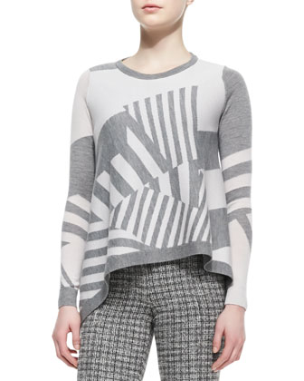 Asymmetric-Stripe Pullover Sweater
