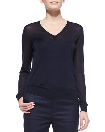 Julie Lightweight Knit V-Neck Sweater, Navy