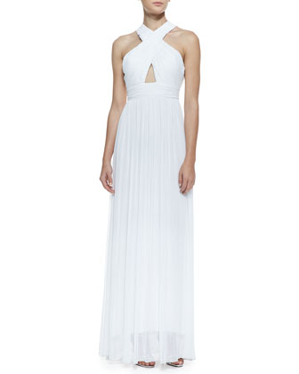 Jaelyn Cross-Front Pleated Chiffon Gown