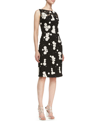Sleeveless Floral Contrast Cocktail Sheath Dress, Midnight