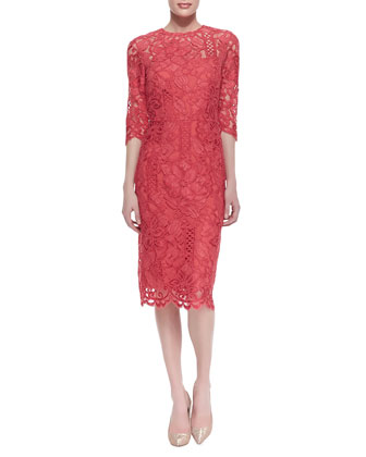 3/4-Sleeve Lace Sheath Cocktail Dress, Coral