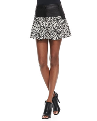 Leather & Floral-Print Tulip Skirt