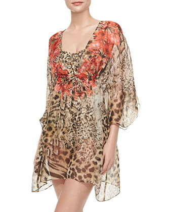 Maculato Silk Leopard-Print Coverup Beach Dress