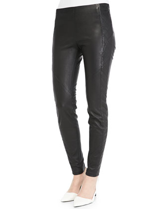 Seamed Leather Leggings with Quilted Sides