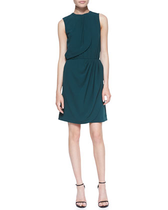 Sleeveless Draped Dress, Teal