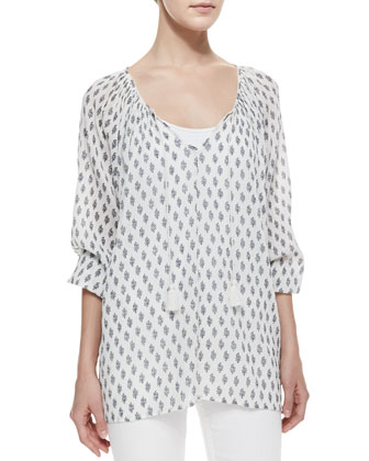 Liana Tie-Neck Printed Blouse
