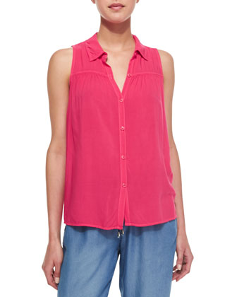 Button-Front Combo Tank Top, Flamingo Pink