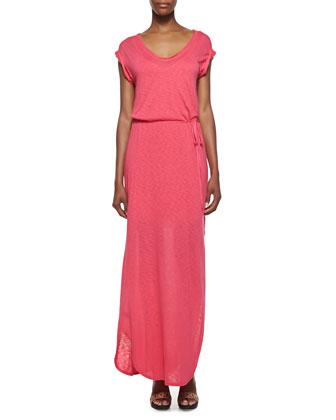 V-Neck Tie-Front Maxi Dress, Flamingo Pink