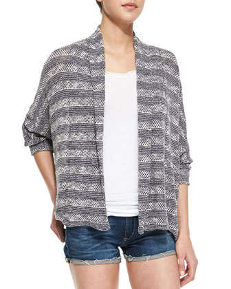 Sierra Striped Loose-Knit Cardigan, Graphite