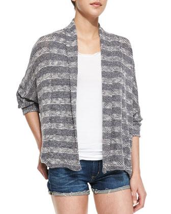Sierra Striped Loose-Knit Cardigan, Graphite