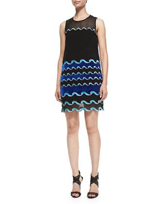 Joan Wave-Pattern Sheer Dress