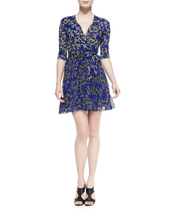 Irina Star-Print Wrap Dress