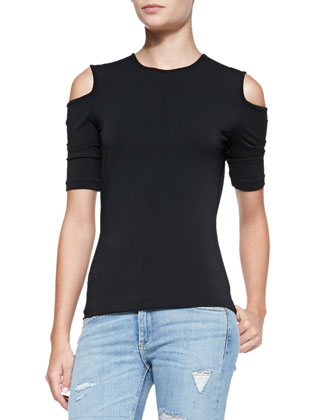 Michelle Knit Cold-Shoulder Top, Black