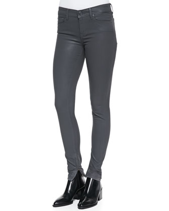 Zipper-Cuff Coated Skinny Pants, Slate