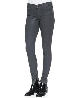 Zipper-Cuff Coated Skinny Pants, Slate