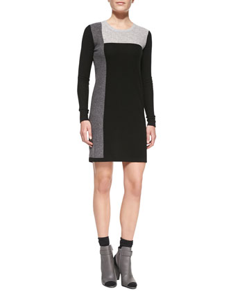 Geometric Intarsia Cashmere Long-Sleeve Sweater Dress
