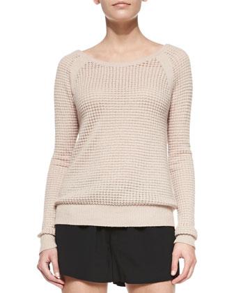 Raglan Thermal Cashmere-Blend Sweater