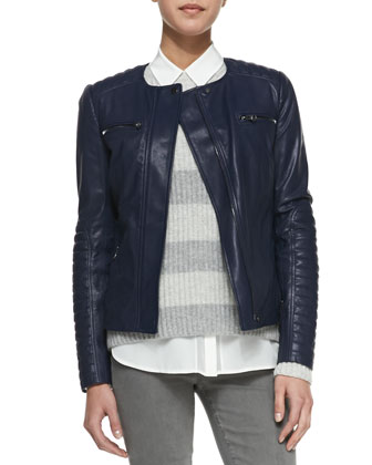 Quilted-Sleeve Leather Moto Jacket