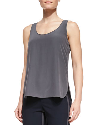Scoop-Neck Loose Silk-Front Tank, Slate