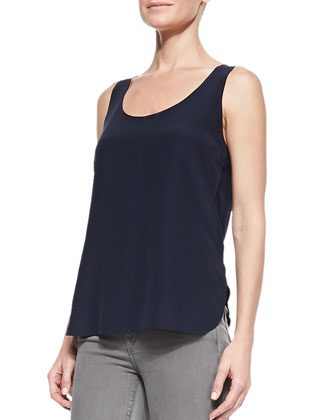 Scoop-Neck Loose Silk Tank, Coastal