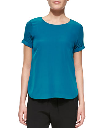 Silk-Yoke Cap-Sleeve Shirttail Tee, Peacock