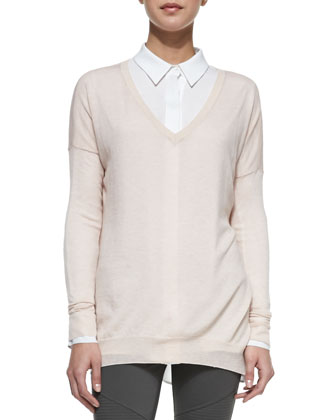 Lightweight V-Neck Drop-Sleeve Sweater, Ballet