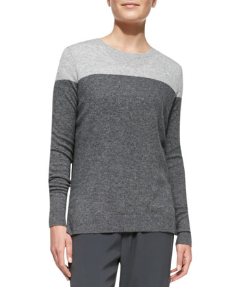Colorblock Cashmere Crewneck Sweater