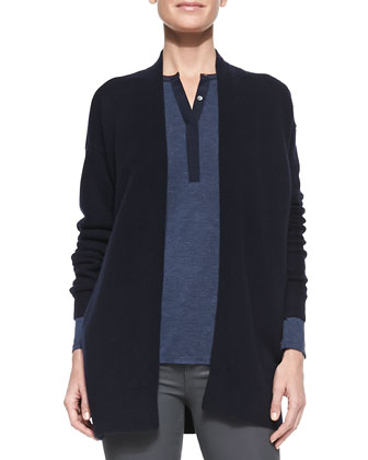 Mixed-Gauge Open-Front Cashmere Cardigan, Coastal