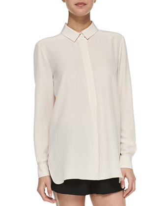 Long-Sleeve Half-Placket Silk Blouse, Pale Salmon