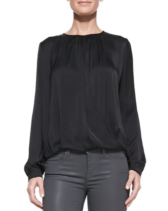 Drape-Front Satin Blouse, Black