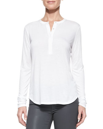 Long-Sleeve Silk-Trim Slub Henley, White