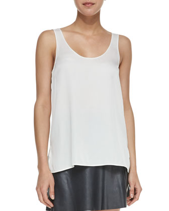 Scoop-Neck Loose Silk Tank, White