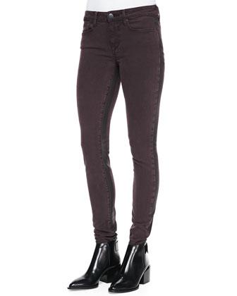 Side-Stripe Skinny Jeans, Mulberry