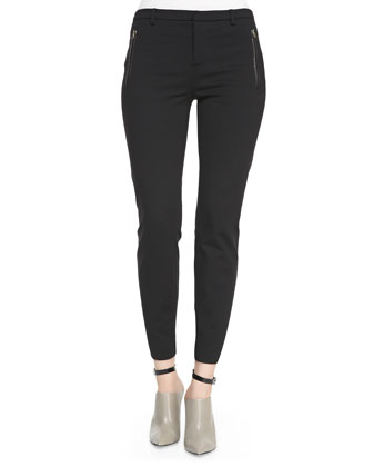 Leather-Trim Ponte Trousers