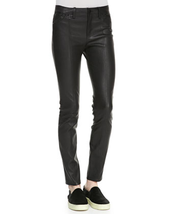 Zip-Pocket Leather Leggings