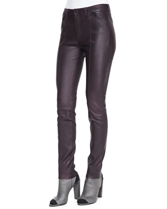 Zip-Detail Leather Leggings, Mulberry