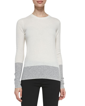 Crewneck Colorblock Cashmere Sweater, White/Heather Steel