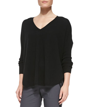 Split-Hem V-Neck Cashmere Sweater, Black