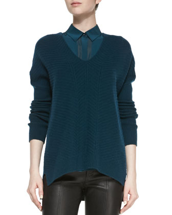 Drop-Sleeve Ribbed Knit Sweater, Twilight