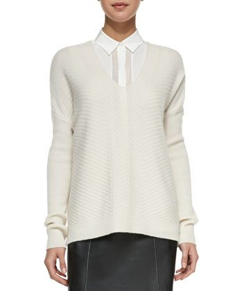 Drop-Sleeve Ribbed Knit Sweater, Winter White