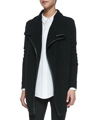 Ribbed Layout Drape Cardigan with Leather Trim, Black