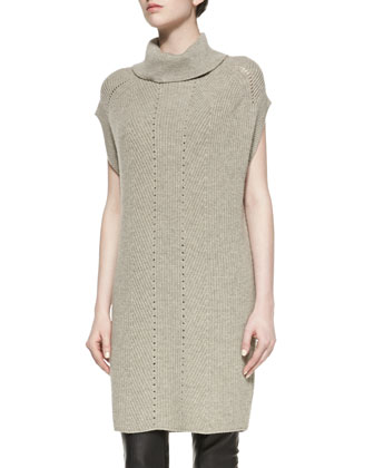 Ribbed Turtleneck Sweater Dress, Heather Almond
