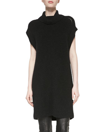 Ribbed Turtleneck Sweater Dress, Heather Black