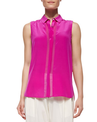Silk Button-Up Sleeveless Top