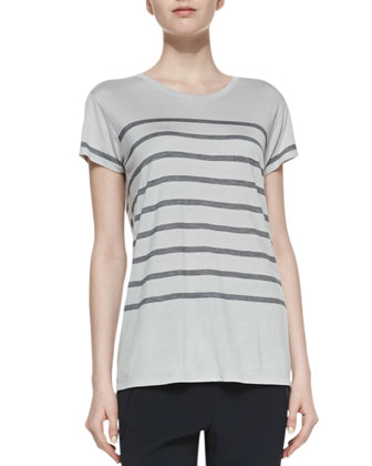 Short-Sleeve Striped Jersey Tee, Concrete/Coastal
