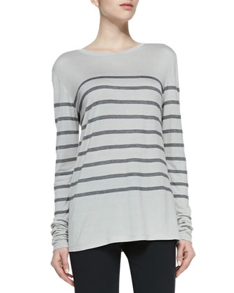 Long-Sleeve Striped Top, Concrete/Coastal